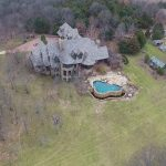 aerial shot of house