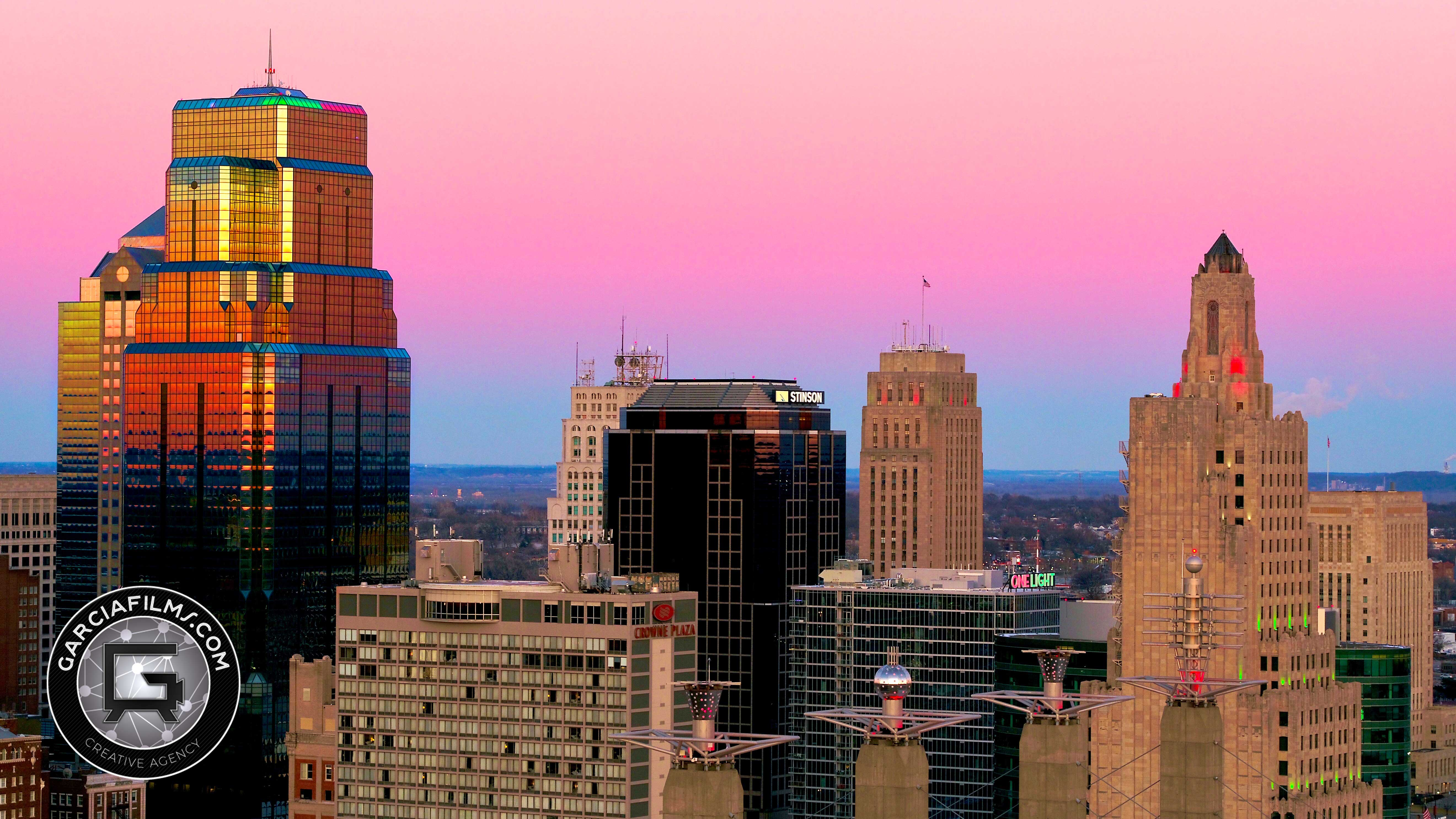 garcia films kansas city skyline with sunset